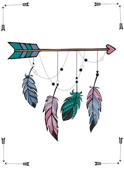 Flèche et plumes à la main dans un style bohème