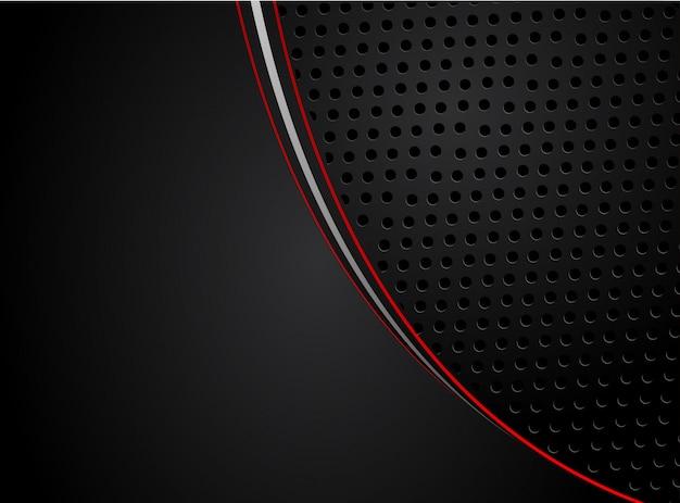 Flèche rouge abstraite sur la conception de maille de cercle gris foncé