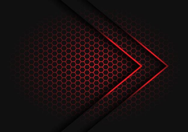 Flèche rouge abstraite lumière direction ombre sur hexagone maille modèle conception illustration vectorielle de fond futuriste moderne.