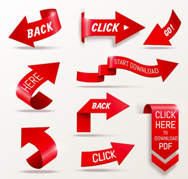 Flèche rouge définie des éléments de conception de collection en illustration 3d