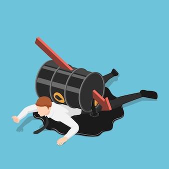 Flèche rouge isométrique plate 3d perçant à travers le baril de pétrole sur l'homme d'affaires