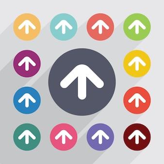 Flèche vers le haut du cercle, jeu d'icônes plat. boutons colorés ronds. vecteur