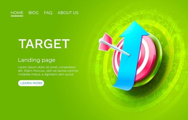 Flèche vers le haut de la page de destination cible bannière entreprise d icône vecteur