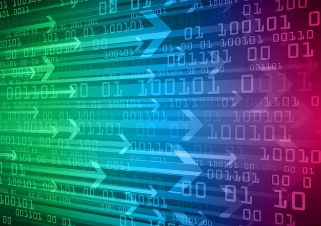 Flèche verte bleue cyber-circuit futur concept de technologie de fond