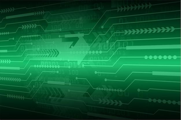 Flèche verte cyber-circuit futur concept de technologie de fond