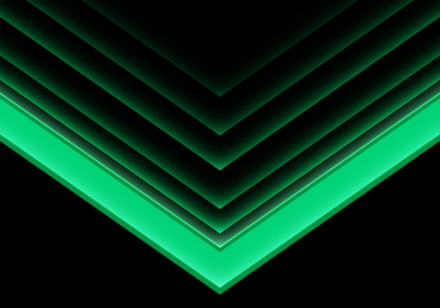 Flèche verte lumière direction néon sur fond noir.