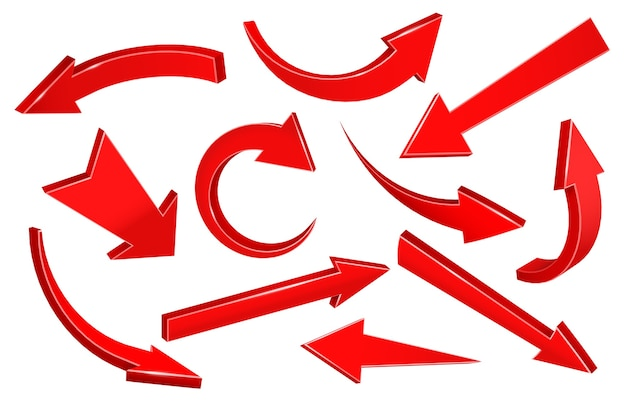 Flèches 3d réalistes. flèche pointée vers le haut incurvée, forme du pointeur vers le bas et flèche vers l'avant