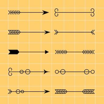 Flèches avec boucles et éléments décoratifs dans un style tendance
