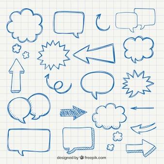 Flèches et des bulles dessinés à la main parole