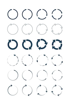 Flèches de cercle. collection de symboles infographiques de formes et de formes rondes