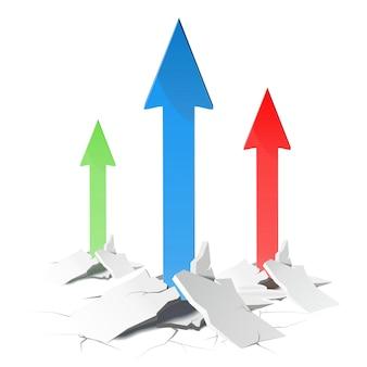 Flèches - concept de croissance. illustration sur fond blanc.