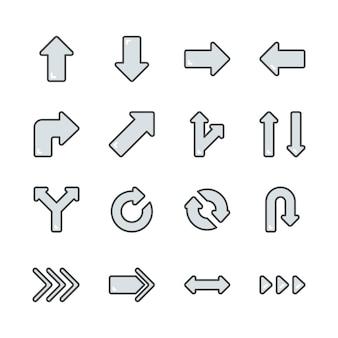 Flèches dans le jeu d'icônes colorline