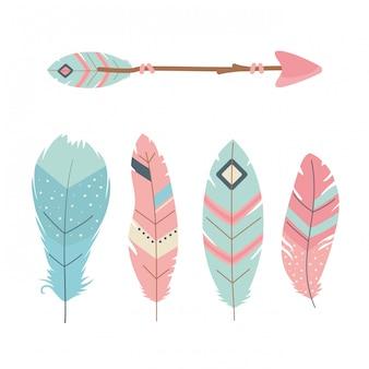 Flèches avec décoration boho style plumes