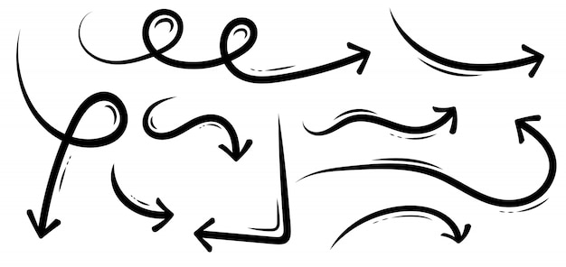 Les flèches dessinées à la main, croquis grunge doodle à la main.
