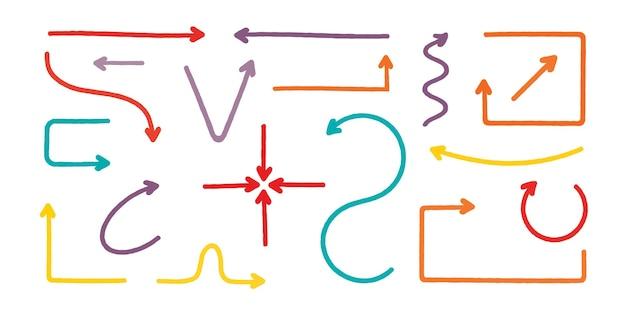 Flèches de différentes couleurs et formes sur fond blanc