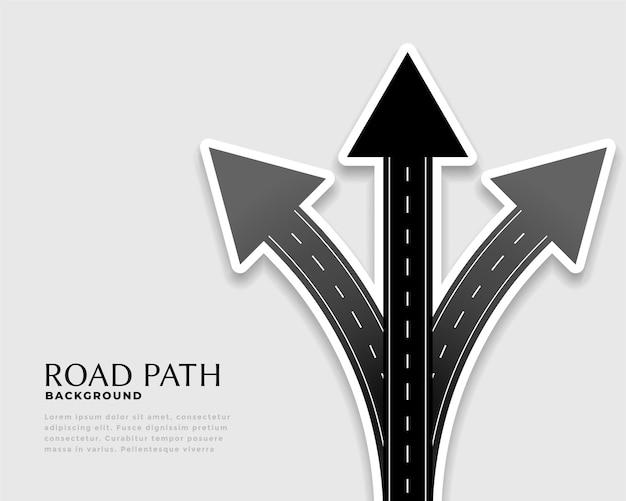 Flèches de direction faites avec le style de la route