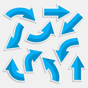 Flèches directionnelles définies dans un style de couleur bleue