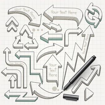 Flèches doodles illustration dessinée à la main.