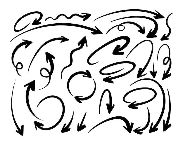 Flèches éléments de conception doodle dessinés à la main.