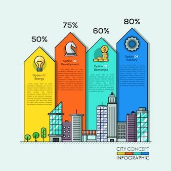 Flèches d'infographie de la vie en ville