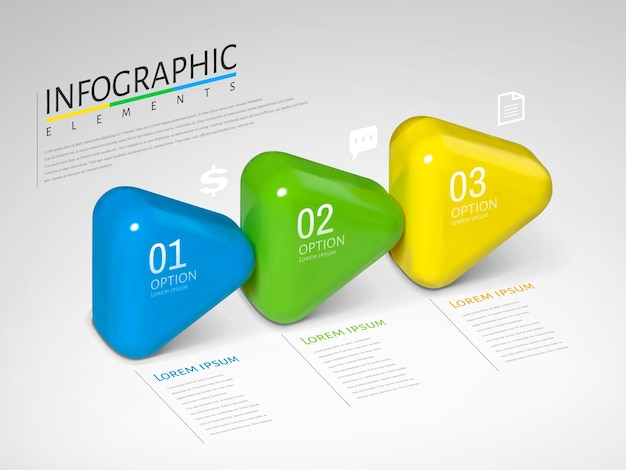 Flèches infographiques, flèches brillantes de texture plastique avec différentes couleurs en illustration, concept de processus