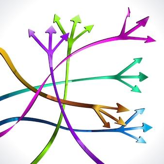 Flèches multicolores isolés