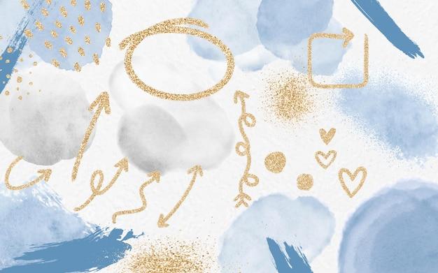 Flèches d'or et éléments sur fond de taches aquarelles