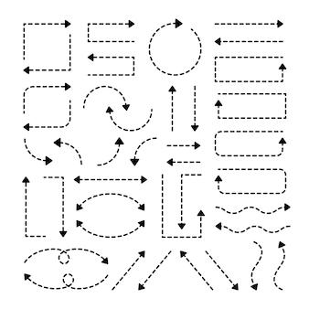 Flèches en pointillé noir avec direction des variations.