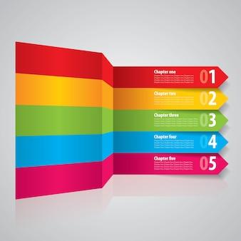 Flèches de rayures modernes avec diagramme d'escalier coloré
