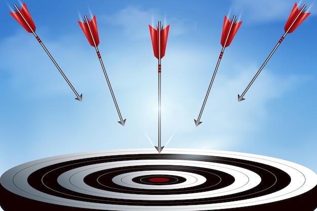 Les flèches rouges de nombreuses flèches lancées du ciel vont au centre de la cible