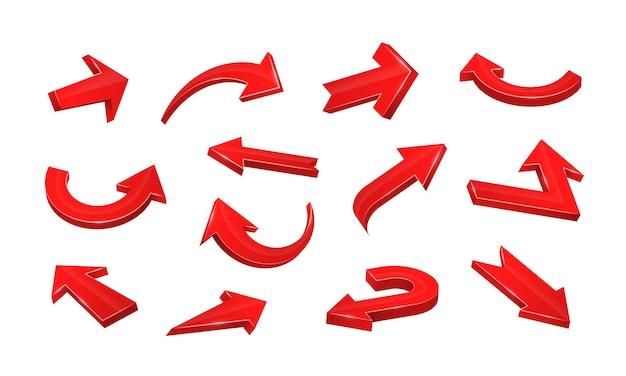 Flèches rouges réalistes 3d pointant dans diverses directions