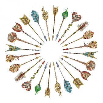 Flèches tribales disposées en cercle