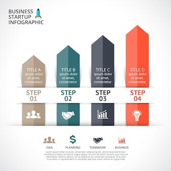 Flèches vecteur modèle de présentation infographique diagramme graphique 4 étapes parties