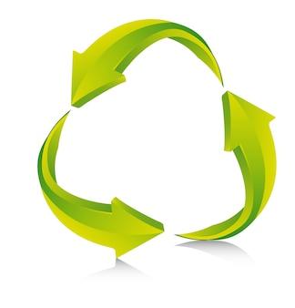 Flèches vertes avec ombre recycler signe vector illustration
