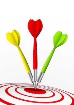 Fléchettes colorées frappant une cible
