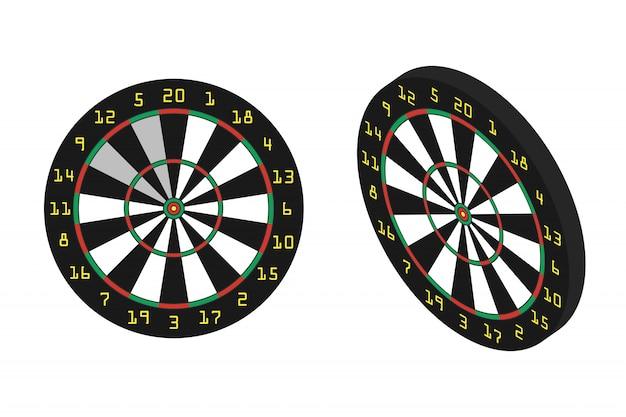 Fléchettes réalistes sur fond blanc. concept de sport, de loisirs et de loisirs.
