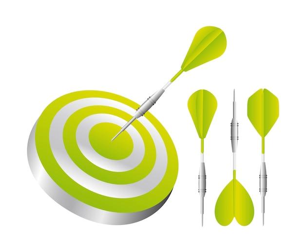 Fléchettes vertes avec jeu de fléchettes isolé sur fond blanc