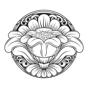 Fleur ajourée sculptée