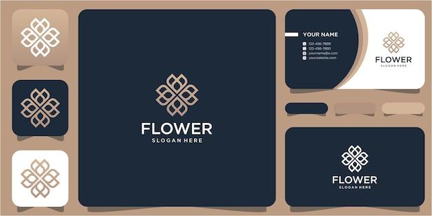Fleur et amour de conception de logo simple