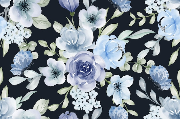 Fleur aquarelle blues modèle sans couture