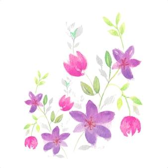 Fleur aquarelle avec illustration de feuilles