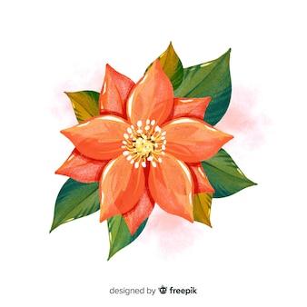 Fleur aquarelle vue de dessus avec feuilles