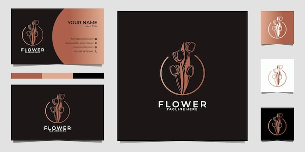 Fleur beau logo et carte de visite