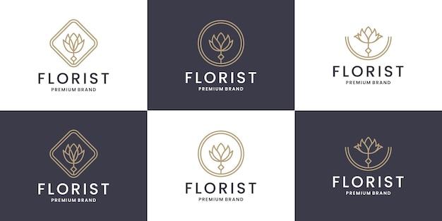 Fleur de beauté, collections de conception de logo floral pour fleuriste