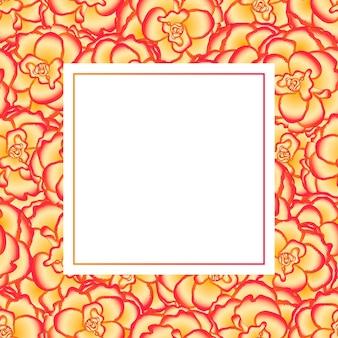 Fleur de bégonia, carte de bannière picotee sunburst