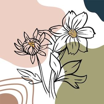 Fleur bidens sur fond abstrait. plante médicale avec des fleurs et des feuilles. style de contour.
