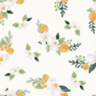 Fleur blanche aquarelle et modèle sans couture de fruits orange