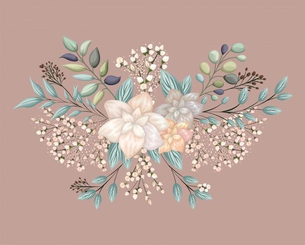 Fleur blanche avec la conception de peinture de feuilles, décoration de jardin d'ornement de plante de nature florale naturelle
