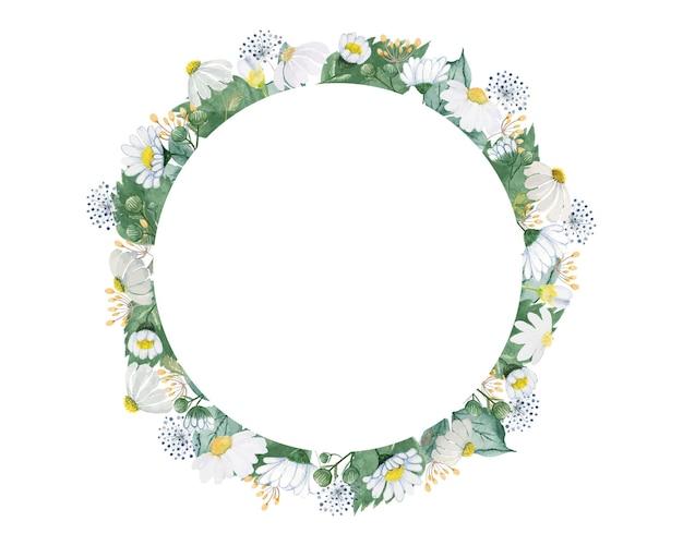 Fleur blanche avec couronne de feuilles vertes
