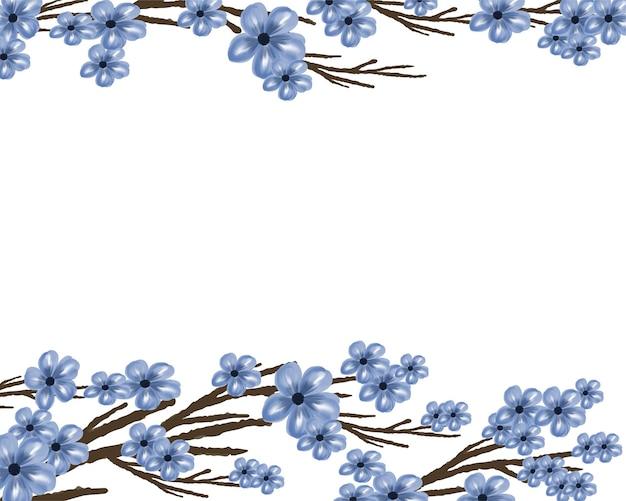 Fleur bleue simple et branche avec fond blanc